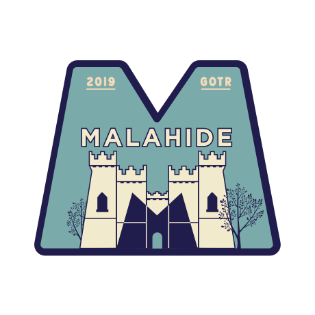 GOTR Malahide emblem with castle and tree illustration